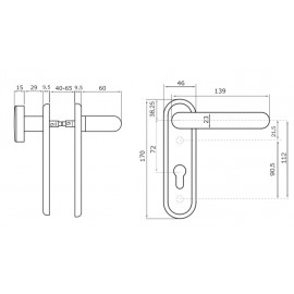Handle set with knob and cylinder hole